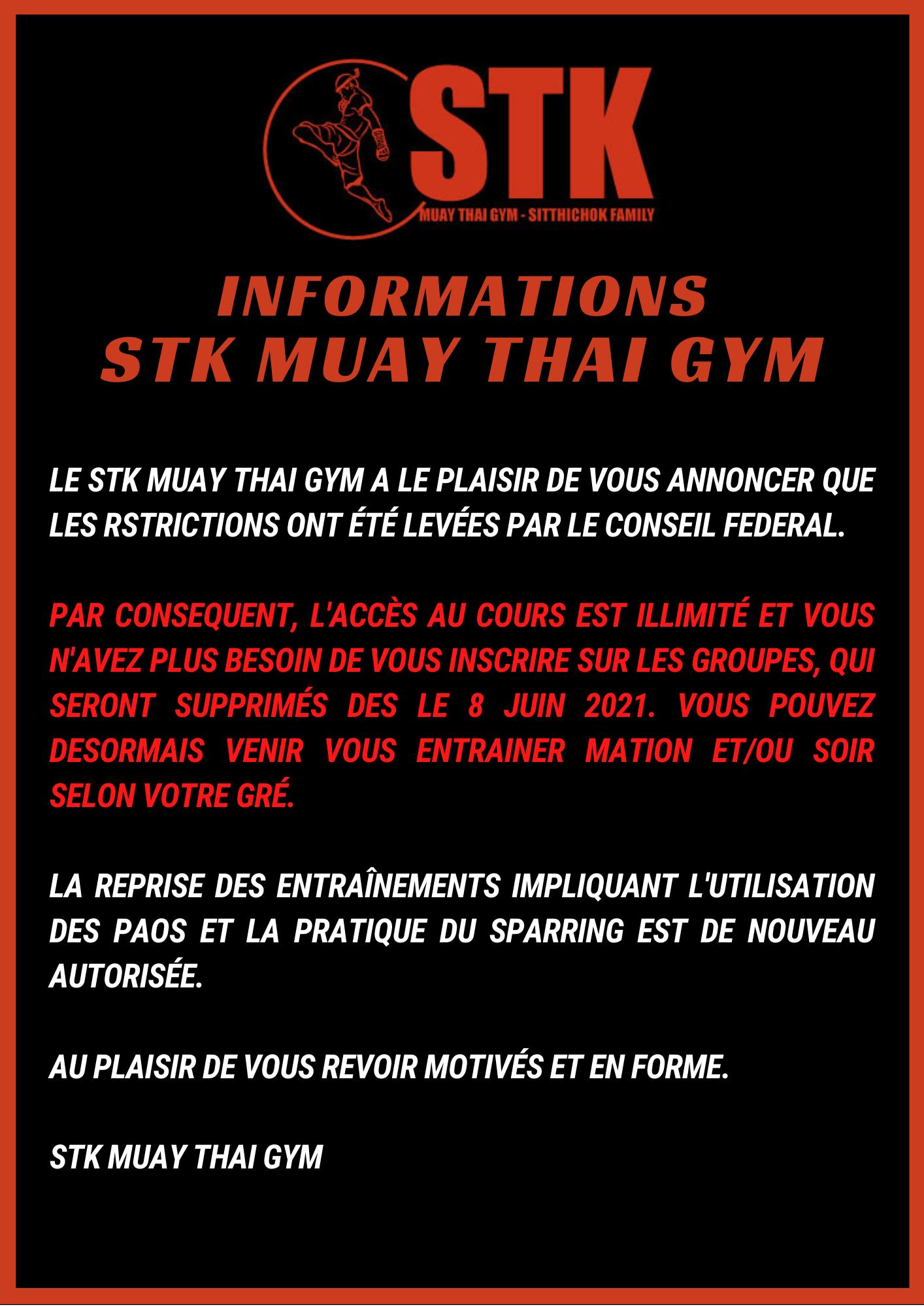 STK MUAY THAI OUVERTURE JUIN JUILLET 2021 SANS RESTRICTIONS